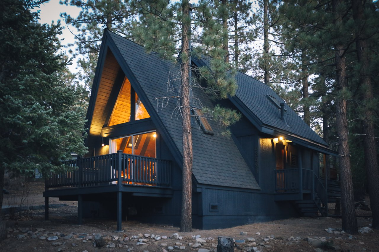 Exterior, Cabin Building Type, Shingles Roof Material, Wood Siding Material, and A-Frame RoofLine  Big Bear A-Frame Receives Boho Eclectic Transformation