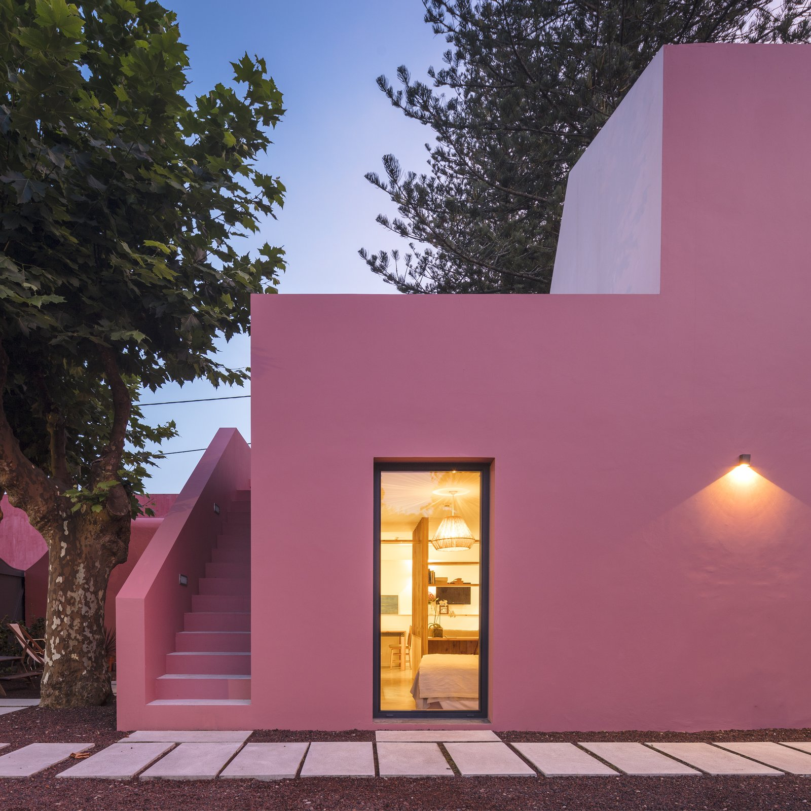 Exterior and Stucco Siding Material  Pink House