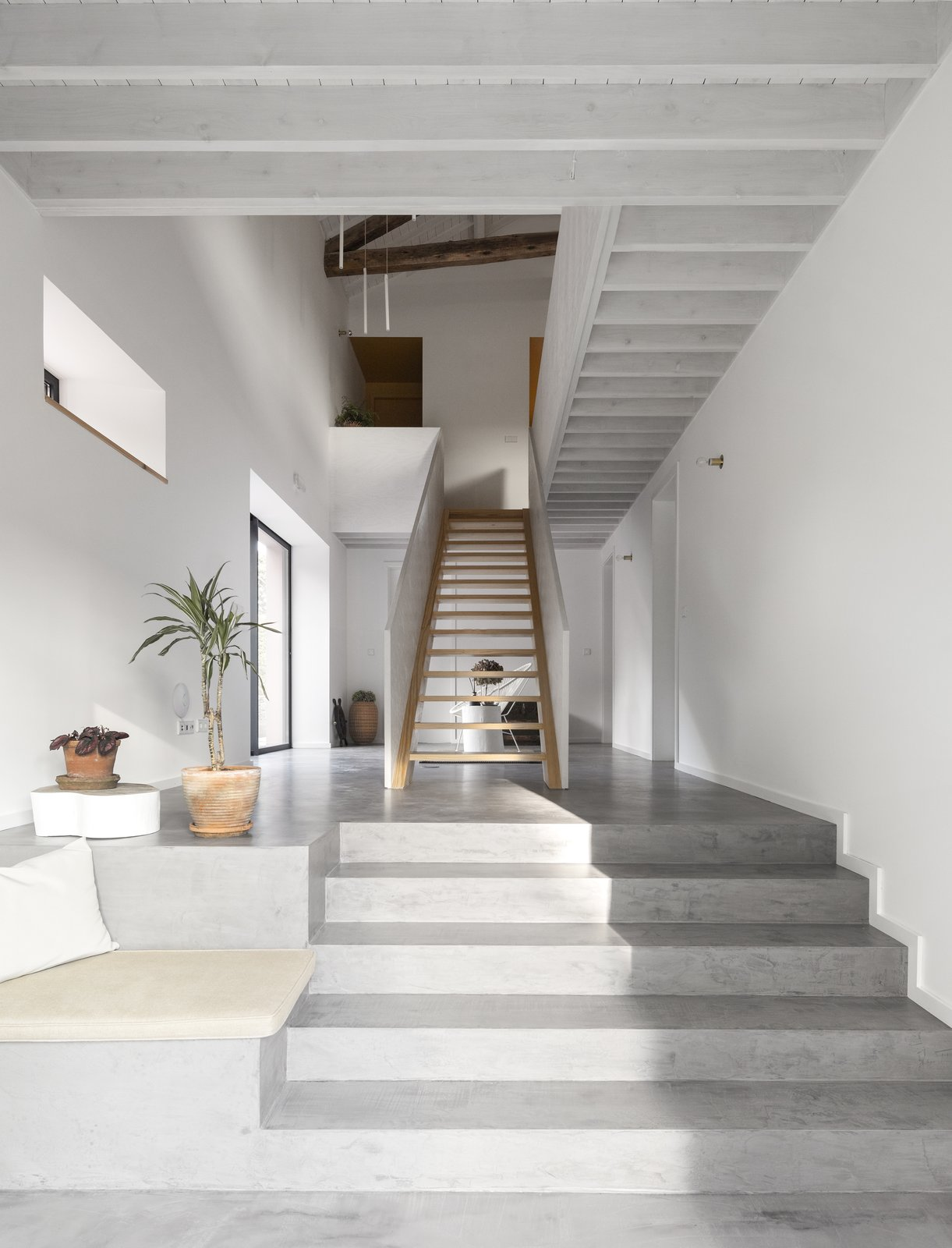 Staircase, Wood Railing, and Wood Tread  Pink House