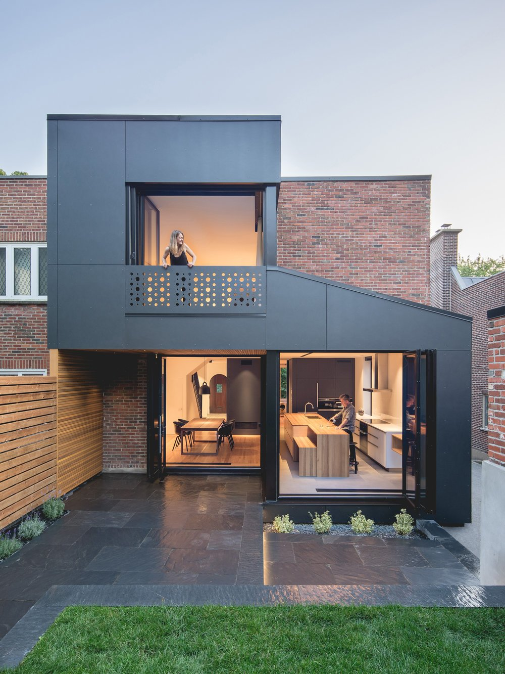 Exterior, House Building Type, Flat RoofLine, and Brick Siding Material  Black Box II