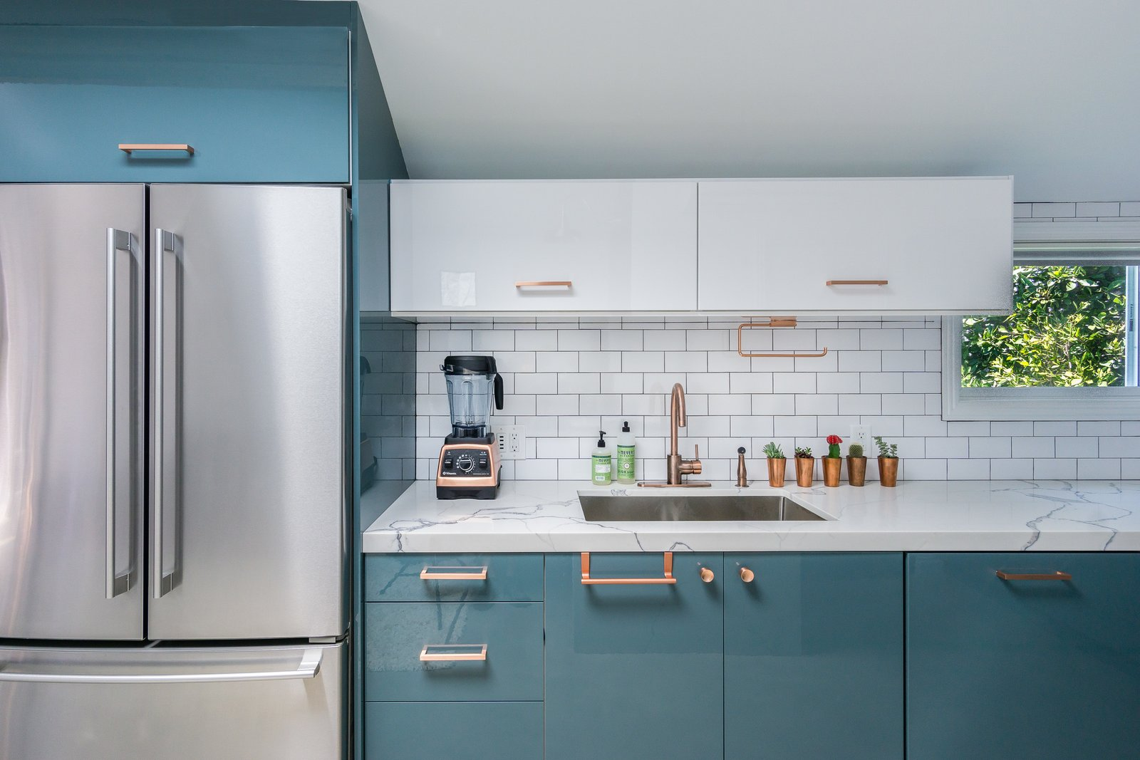 Kitchen, Refrigerator, and Subway Tile Backsplashe  Guest House and Work Space - Los Angeles by Mario Peixoto Photography