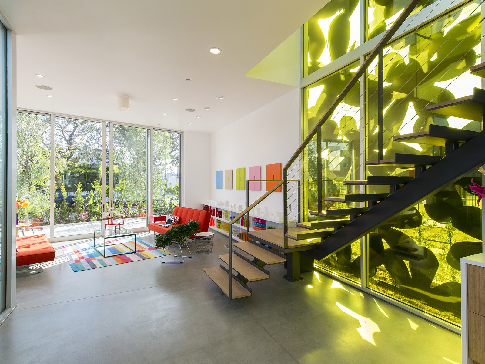 Living Room, Sofa, Shelves, Concrete Floor, and Recessed Lighting  Cameron McNall House