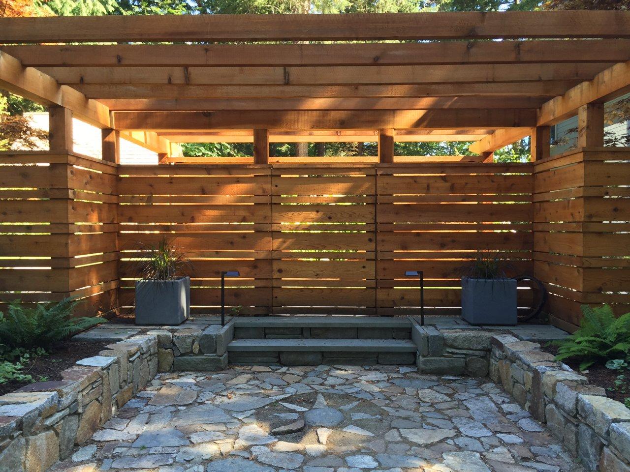 Outdoor, Stone Patio, Porch, Deck, Wood Fences, Wall, and Horizontal Fences, Wall Entry  Cortes Island Custom Blu Prefab by Mark Spevakow