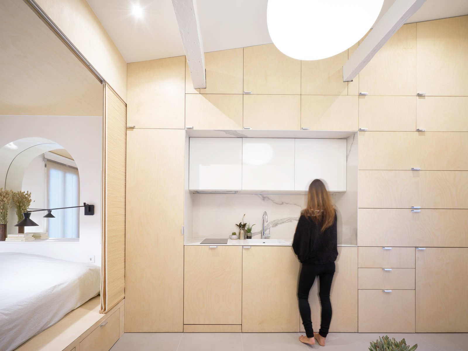 Kitchen, Wood, Porcelain Tile, Ceiling, and Wall  Best Kitchen Porcelain Tile Wall Photos from Urban Cocoon in Paris
