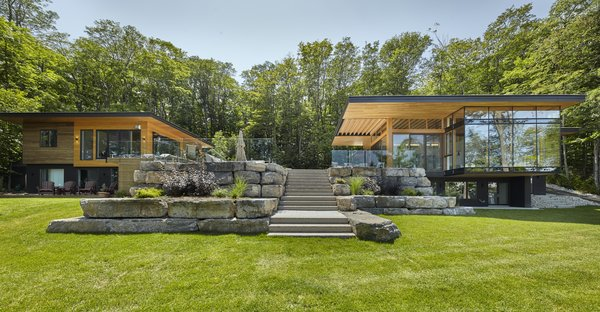 Outdoor, Flowers, Grass, Retaining, Landscape, Hardscapes, Stone, Shrubs, Raised Planters, Front Yard, Stone, Pavers, Boulders, and Gardens  Best Outdoor Stone Boulders Photos from Severn Sound Cottage