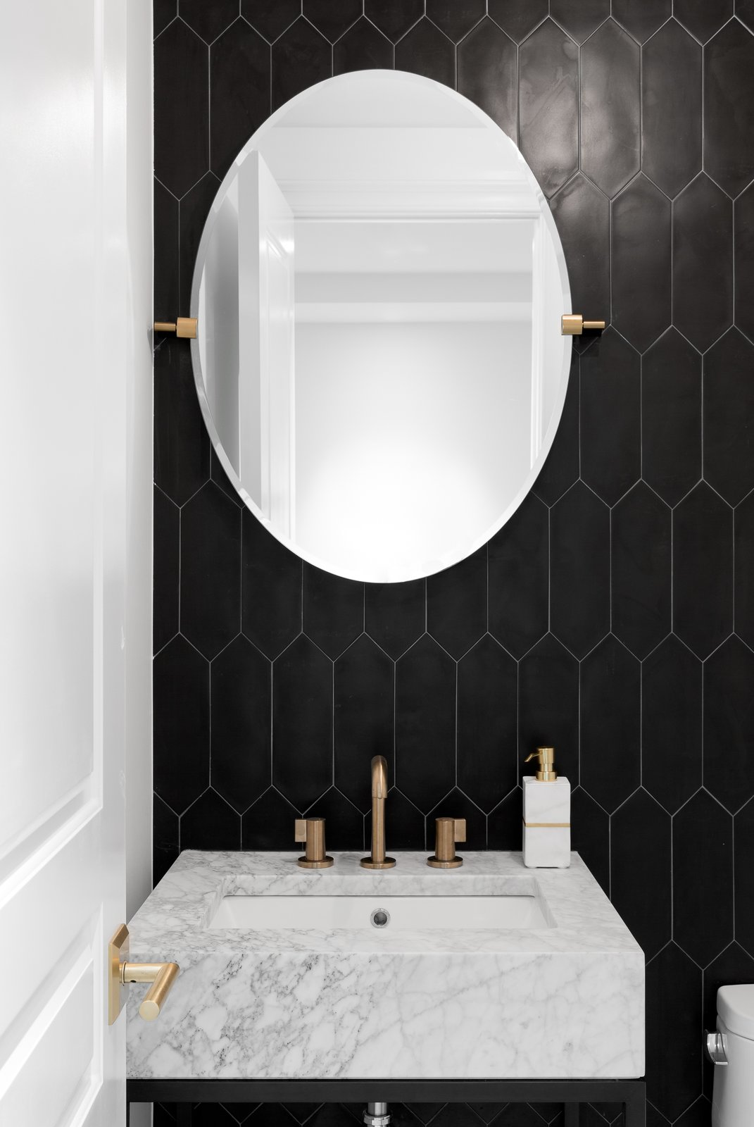 Bath Room, Undermount Sink, Ceramic Tile Wall, and Marble Counter  Boerum Hill Brownstone