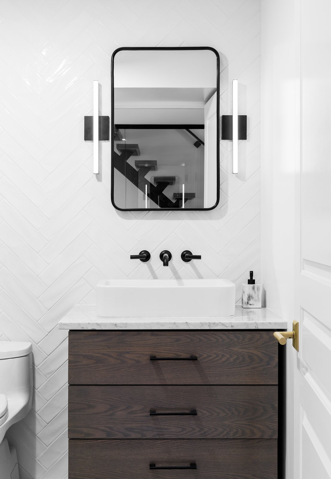 Bath, Stone, Ceramic Tile, Marble, Vessel, Enclosed, and One Piece  Best Bath One Piece Vessel Enclosed Photos from Boerum Hill Brownstone