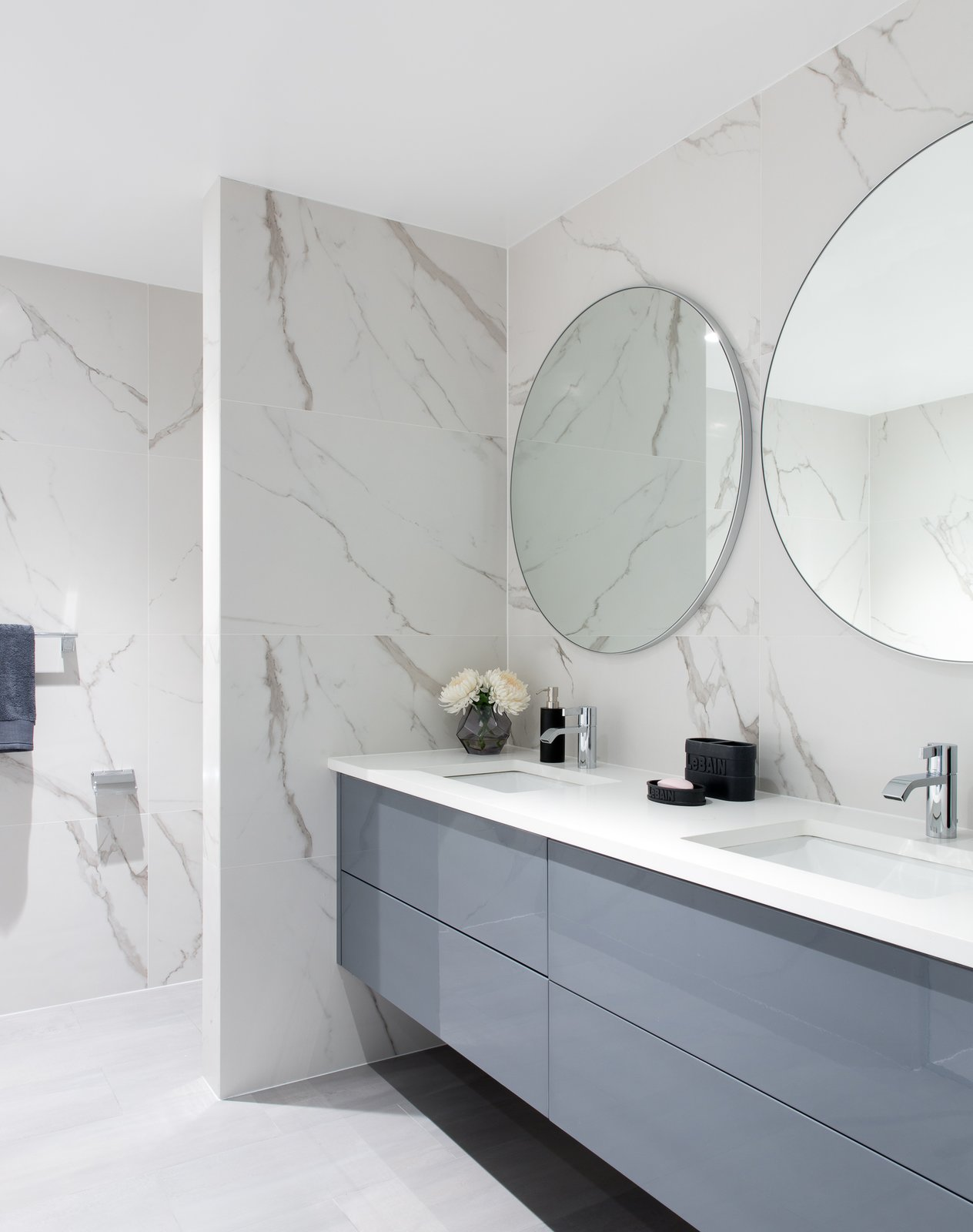 Bath, Stone, Porcelain Tile, Engineered Quartz, Undermount, Porcelain Tile, and Marble  Best Bath Undermount Stone Photos from Boerum Hill Brownstone