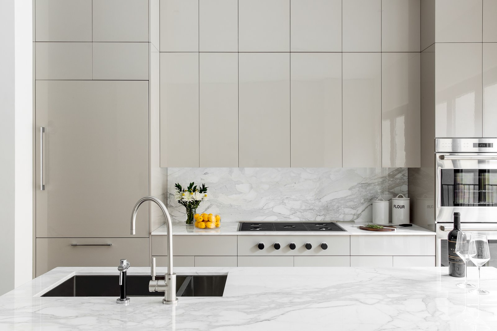 Kitchen, Medium Hardwood, Colorful, Refrigerator, Marble, Stone Slab, Cooktops, Wall Oven, Stone, and Undermount  Best Kitchen Cooktops Wall Oven Marble Stone Stone Slab Photos from Boerum Hill Brownstone