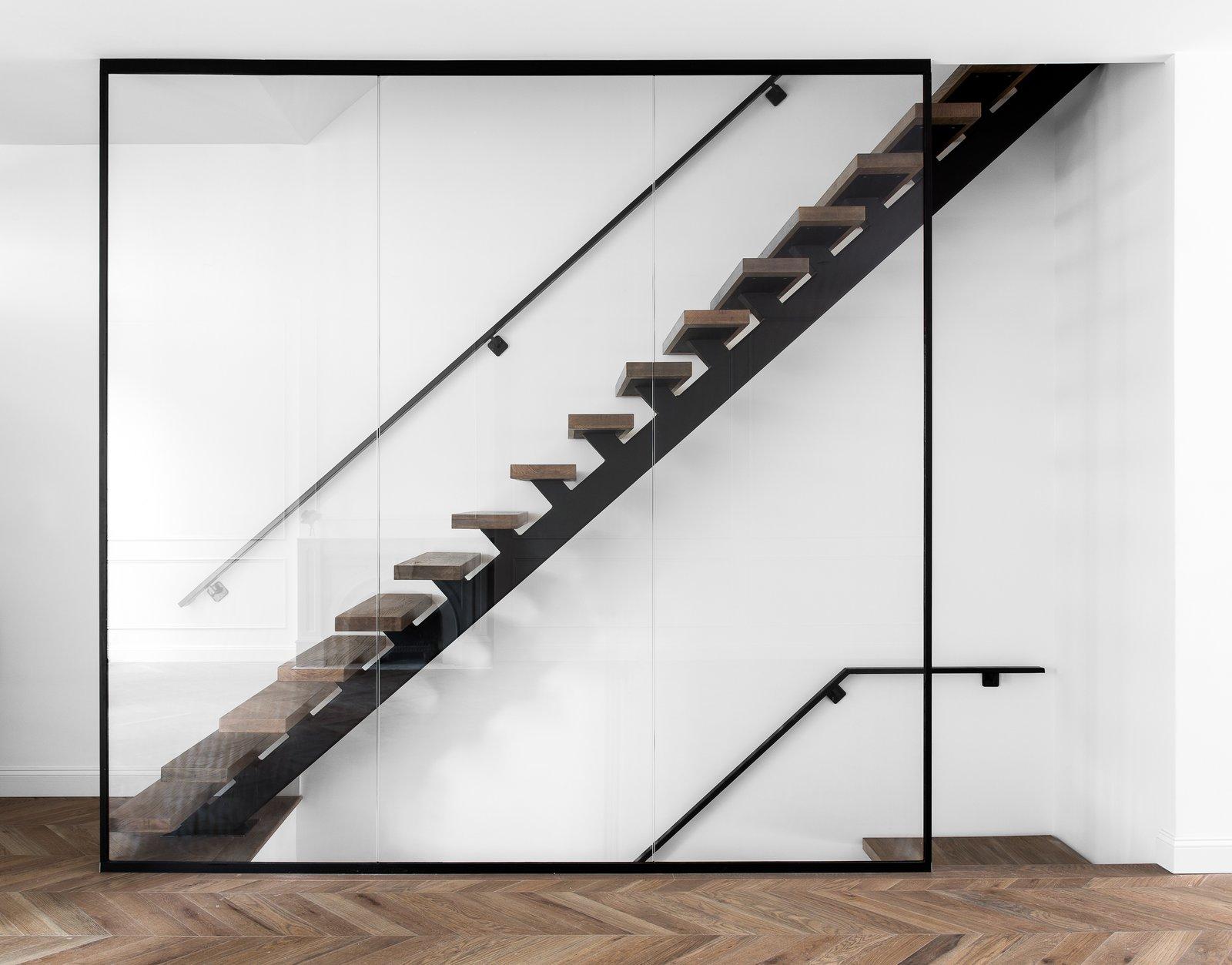 Staircase, Metal Railing, Wood Tread, and Glass Railing  Boerum Hill Brownstone