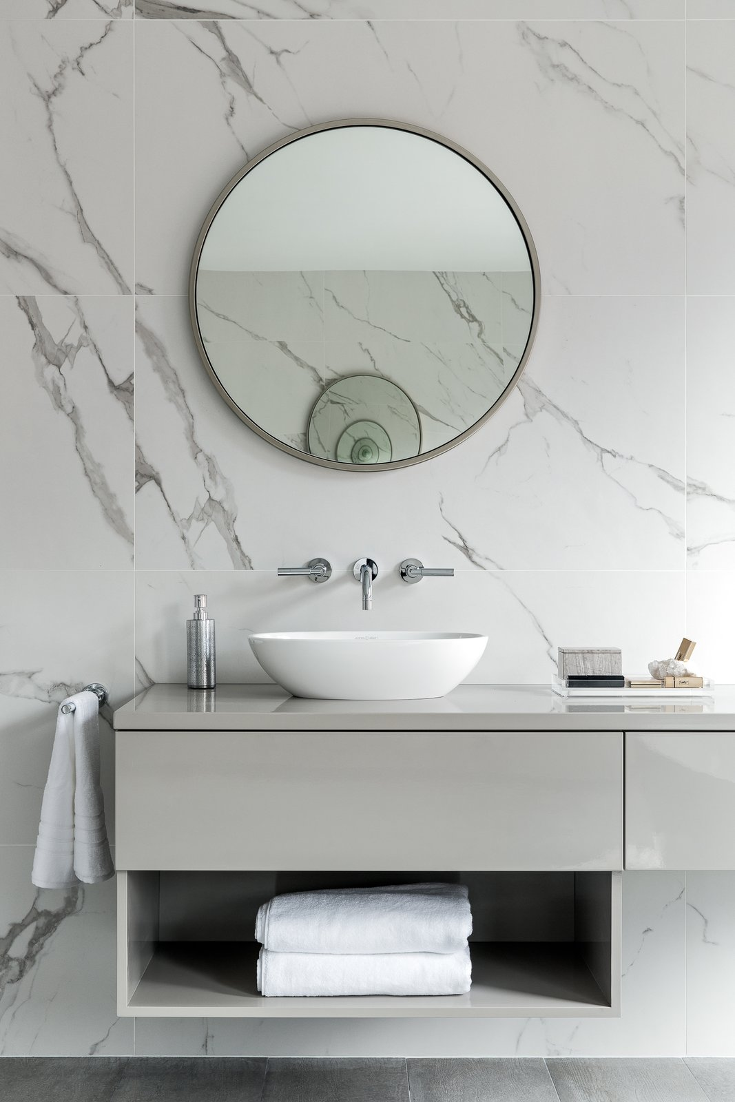 Bath Room, Wood Counter, Marble Wall, Vessel Sink, Ceramic Tile Wall, and Porcelain Tile Floor  Boerum Hill Brownstone