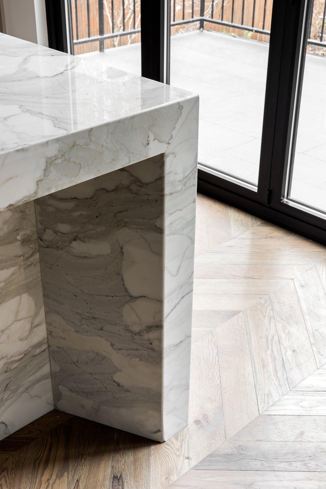 Kitchen, Medium Hardwood Floor, and Marble Counter  Boerum Hill Brownstone