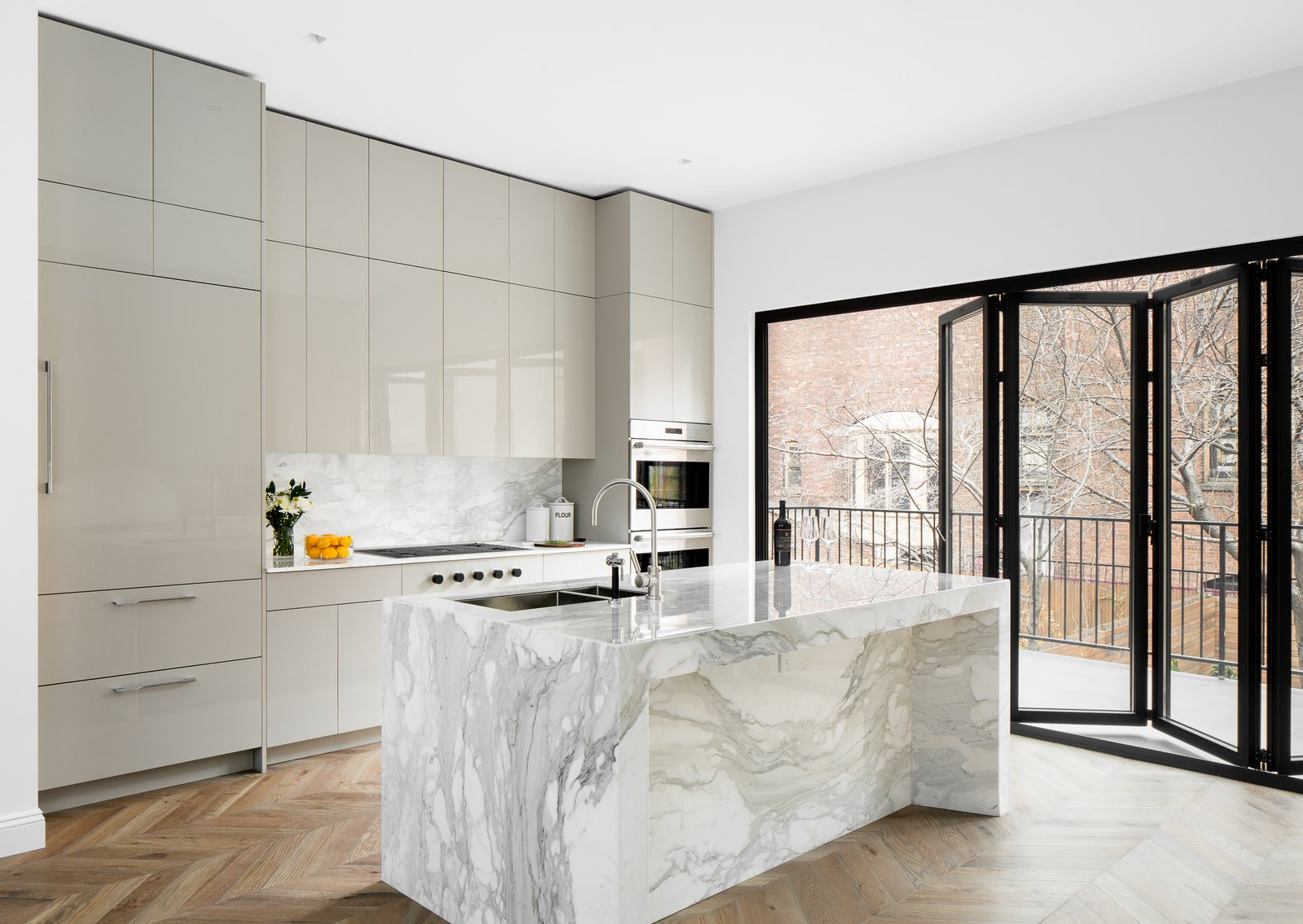Kitchen, Refrigerator, Stone Slab Backsplashe, Cooktops, Medium Hardwood Floor, Marble Counter, Recessed Lighting, Colorful Cabinet, and Wall Oven  Boerum Hill Brownstone