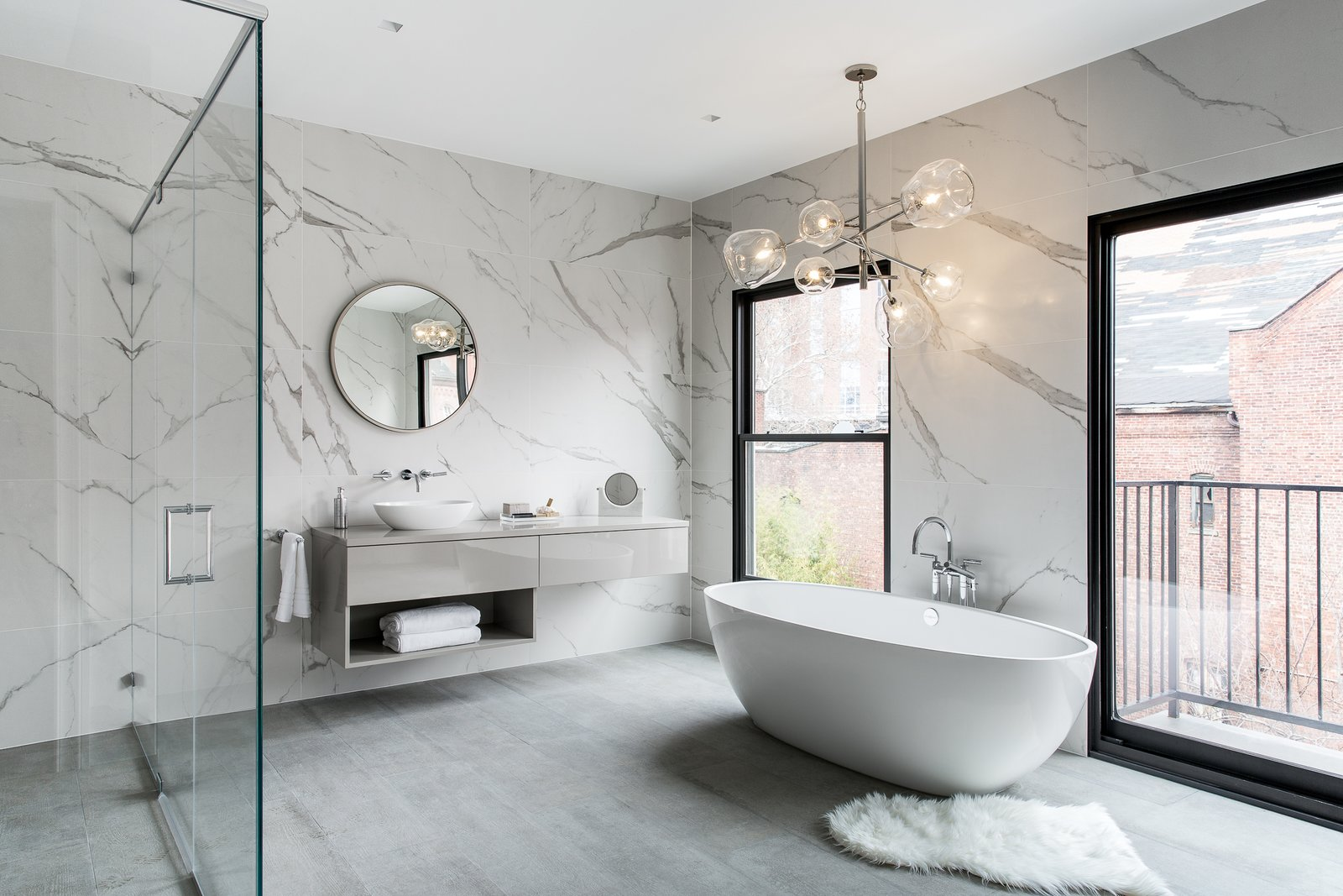 Bath, Porcelain Tile, Full, Soaking, Vessel, Wood, Enclosed, Ceiling, Recessed, Porcelain Tile, Marble, and Freestanding  Best Bath Wood Recessed Full Marble Photos from Boerum Hill Brownstone
