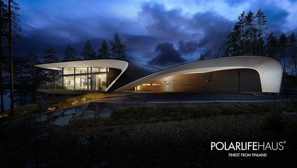 The curved shape of the house was inspired by the design of boats and airplanes.