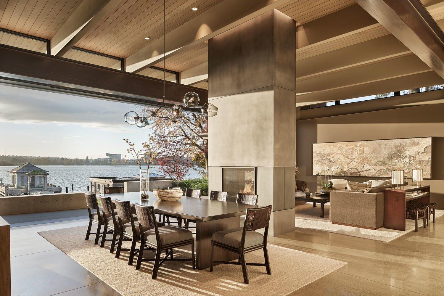 A neutral palette is used cohesively within the home