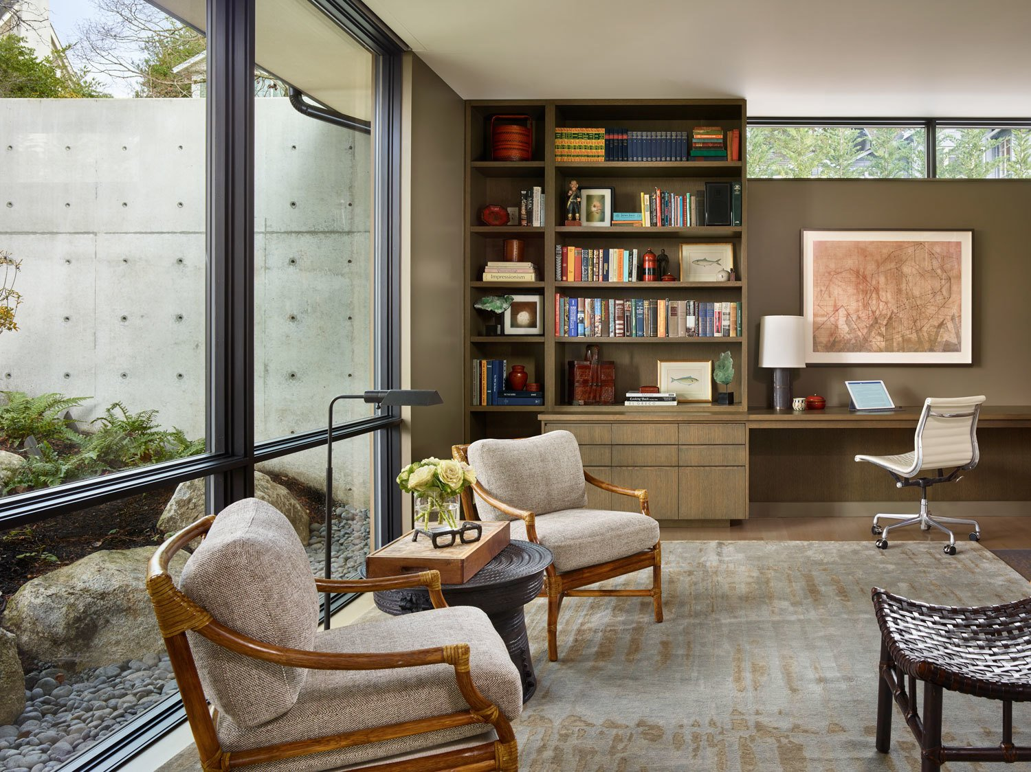 Office, Study Room Type, Desk, Shelves, Light Hardwood Floor, Library Room Type, Chair, Storage, Lamps, and Bookcase  Union Bay Residence by NB Design Group