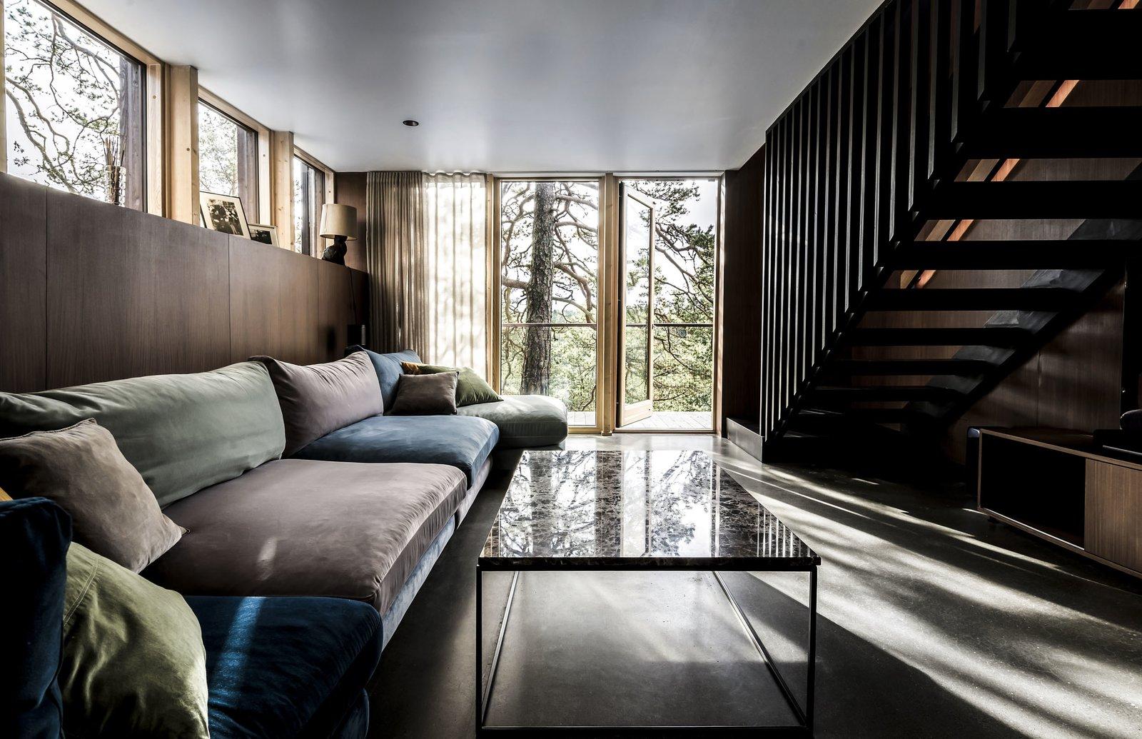 Living Room, Concrete Floor, Ceiling Lighting, and Sofa  Woodland house
