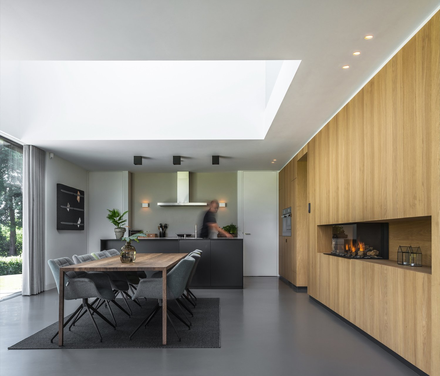 Kitchen, Concrete, Wall Oven, Wood, Wall, Ceiling, and Metal  Best Kitchen Concrete Wood Wall Photos from Villa IJsselzig