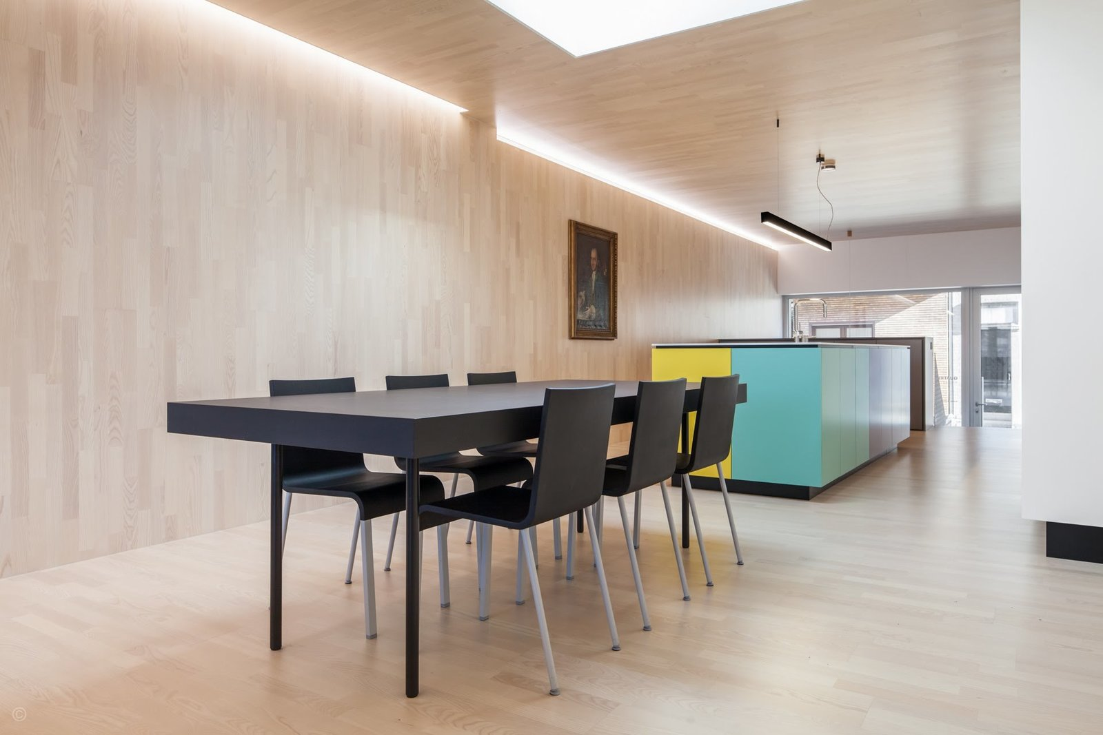 Dining Room, Table, Chair, Recessed Lighting, Pendant Lighting, and Light Hardwood Floor  Private House and Architecture Office