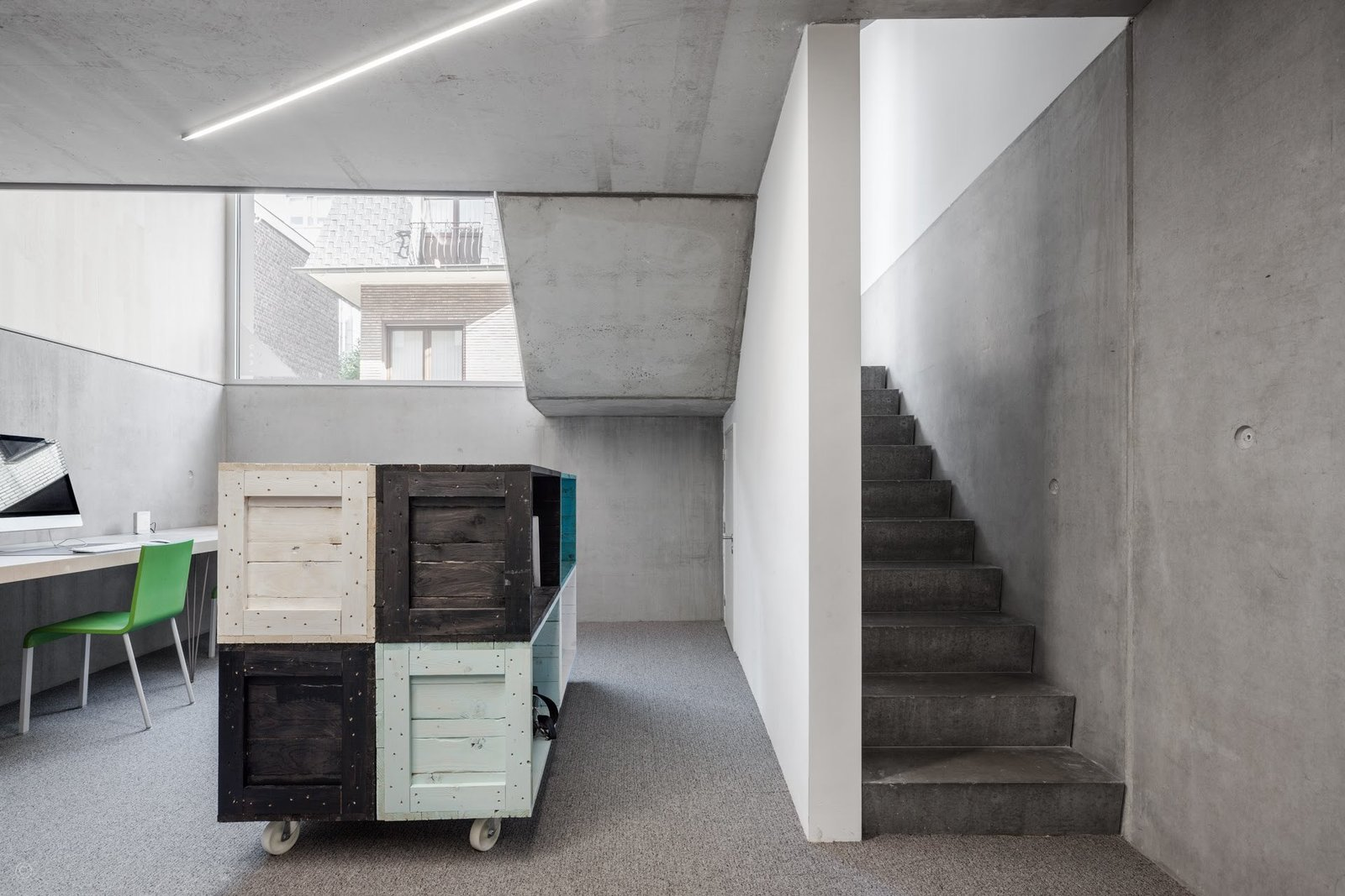 Office, Desk, Chair, Storage, Lamps, Concrete Floor, and Carpet Floor  Private House and Architecture Office