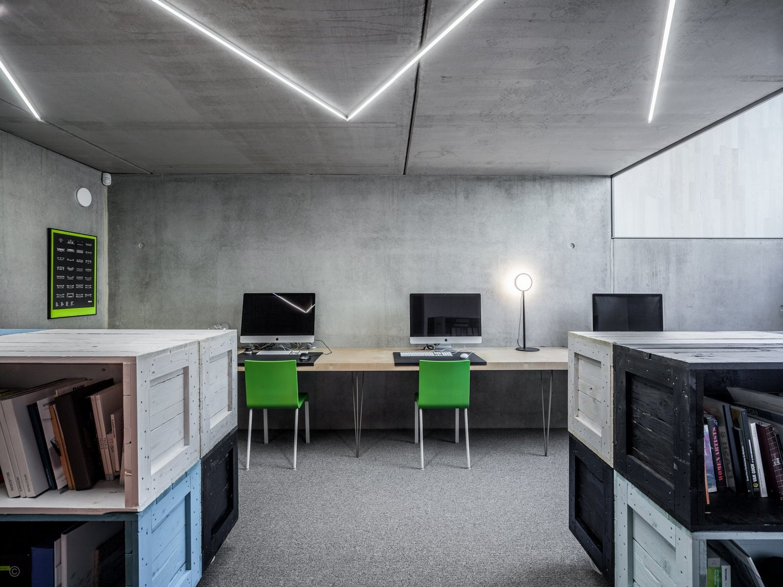 Office, Concrete Floor, Shelves, Storage, Chair, Desk, Bookcase, Carpet Floor, and Lamps  Private House and Architecture Office