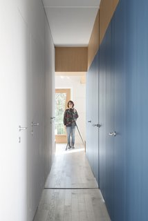The mirrored door slides closed for privacy, but maintains a feeling of openness.