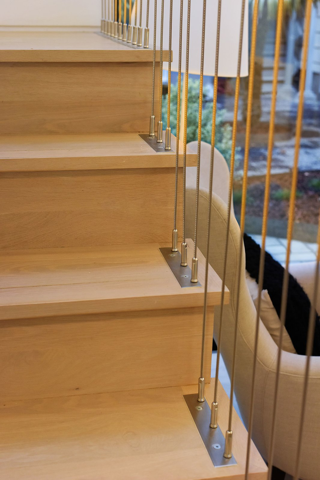 Staircase, Cable Railing, and Wood Tread  For Sale: 188 Quane Street