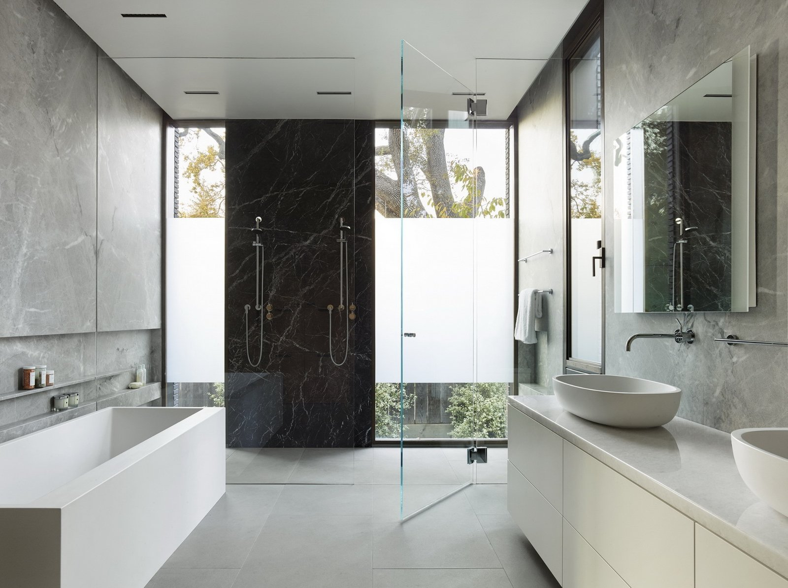 Bath, Marble, Enclosed, Vessel, Recessed, Quartzite, Freestanding, and Marble  Bath Marble Enclosed Photos from Waverley Residence