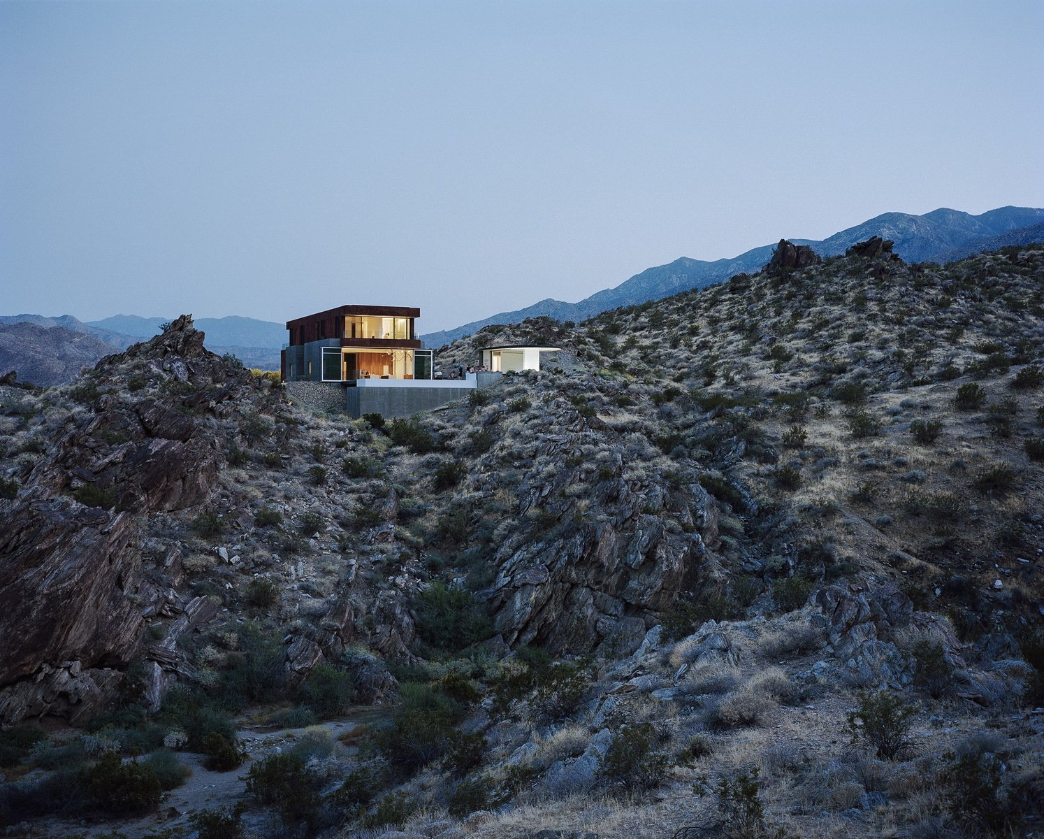 Outdoor, Desert, Boulders, Shrubs, Slope, Infinity Pools, Tubs, Shower, and Concrete Patio, Porch, Deck  Ridge Mountain Residence by Ehrlich Yanai Rhee Chaney Architects