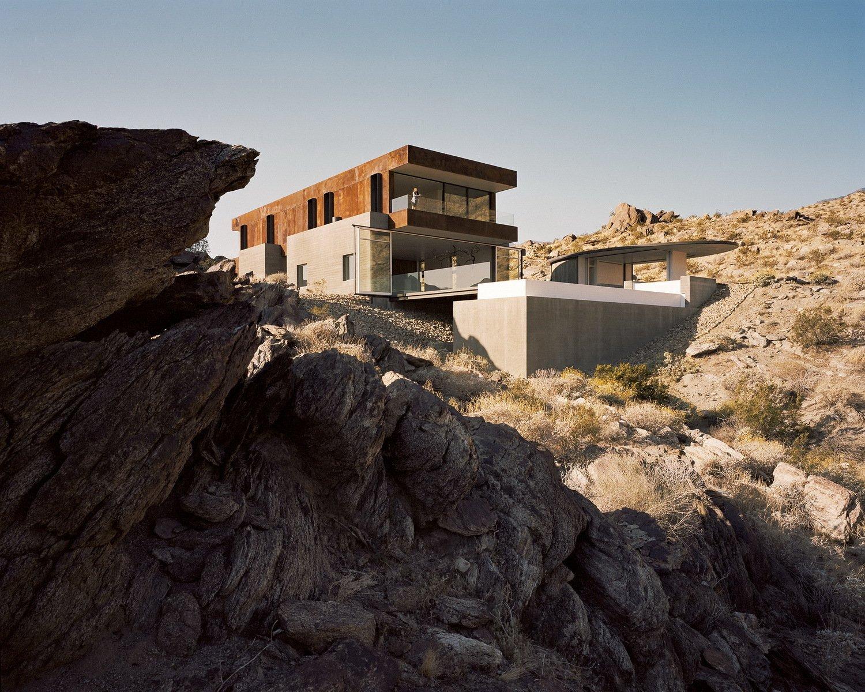 Outdoor, Desert, Concrete, Back Yard, Shrubs, Boulders, Hardscapes, Infinity, and Slope  Best Outdoor Desert Shrubs Photos from Ridge Mountain Residence