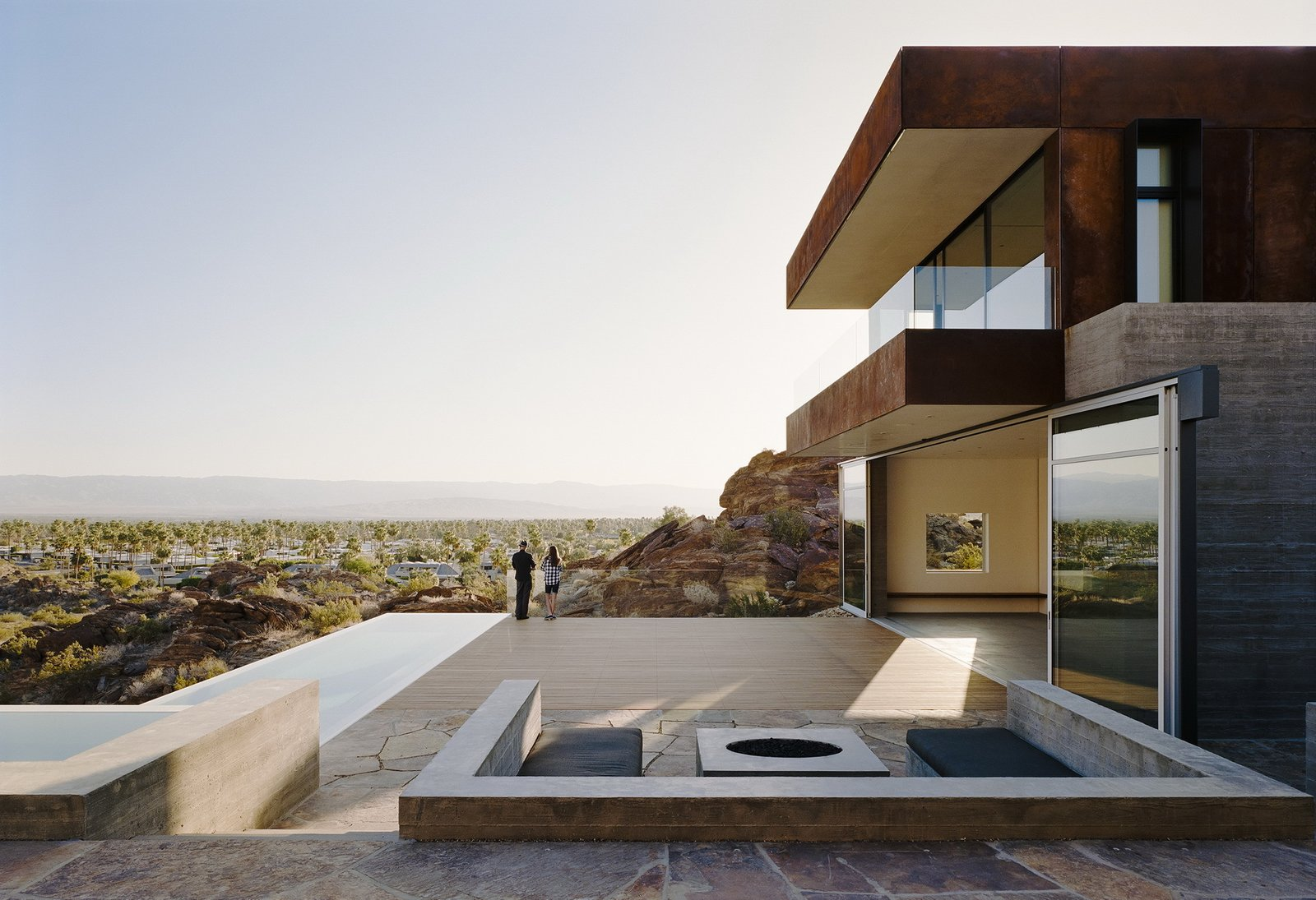 Outdoor, Back Yard, Shrubs, Slope, Boulders, Desert, and Infinity Pools, Tubs, Shower  Ridge Mountain Residence by Ehrlich Yanai Rhee Chaney Architects