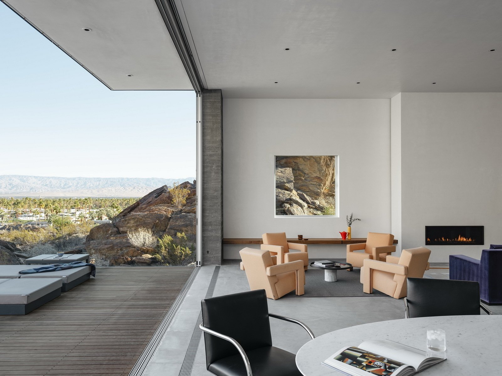 Living Room, Ribbon Fireplace, Coffee Tables, Bench, Table, Ceiling Lighting, and Chair  Ridge Mountain Residence by Ehrlich Yanai Rhee Chaney Architects