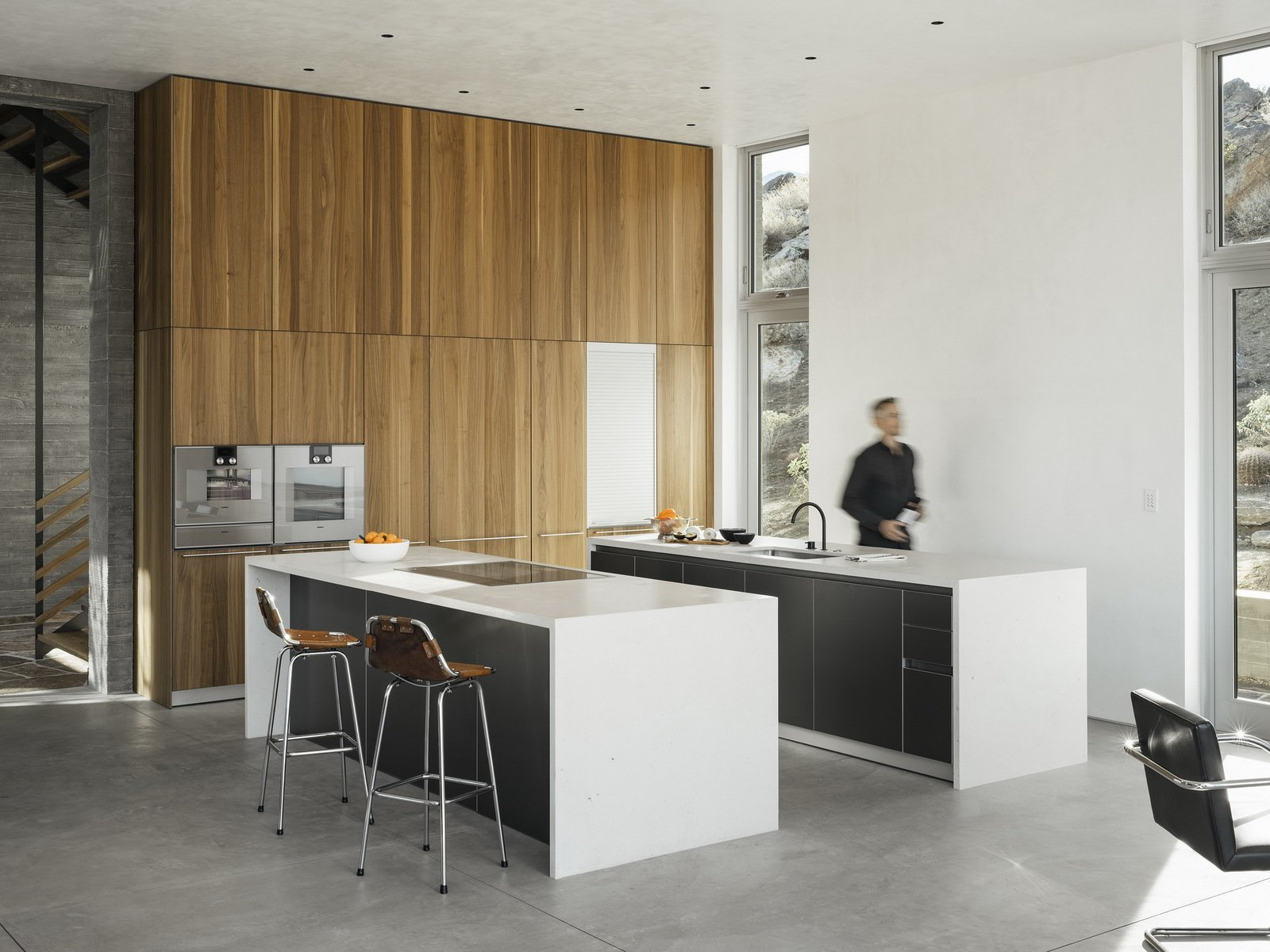 Kitchen, Wall Oven, Ceiling Lighting, Drop In Sink, Wood Cabinet, and Cooktops  Ridge Mountain Residence by Ehrlich Yanai Rhee Chaney Architects