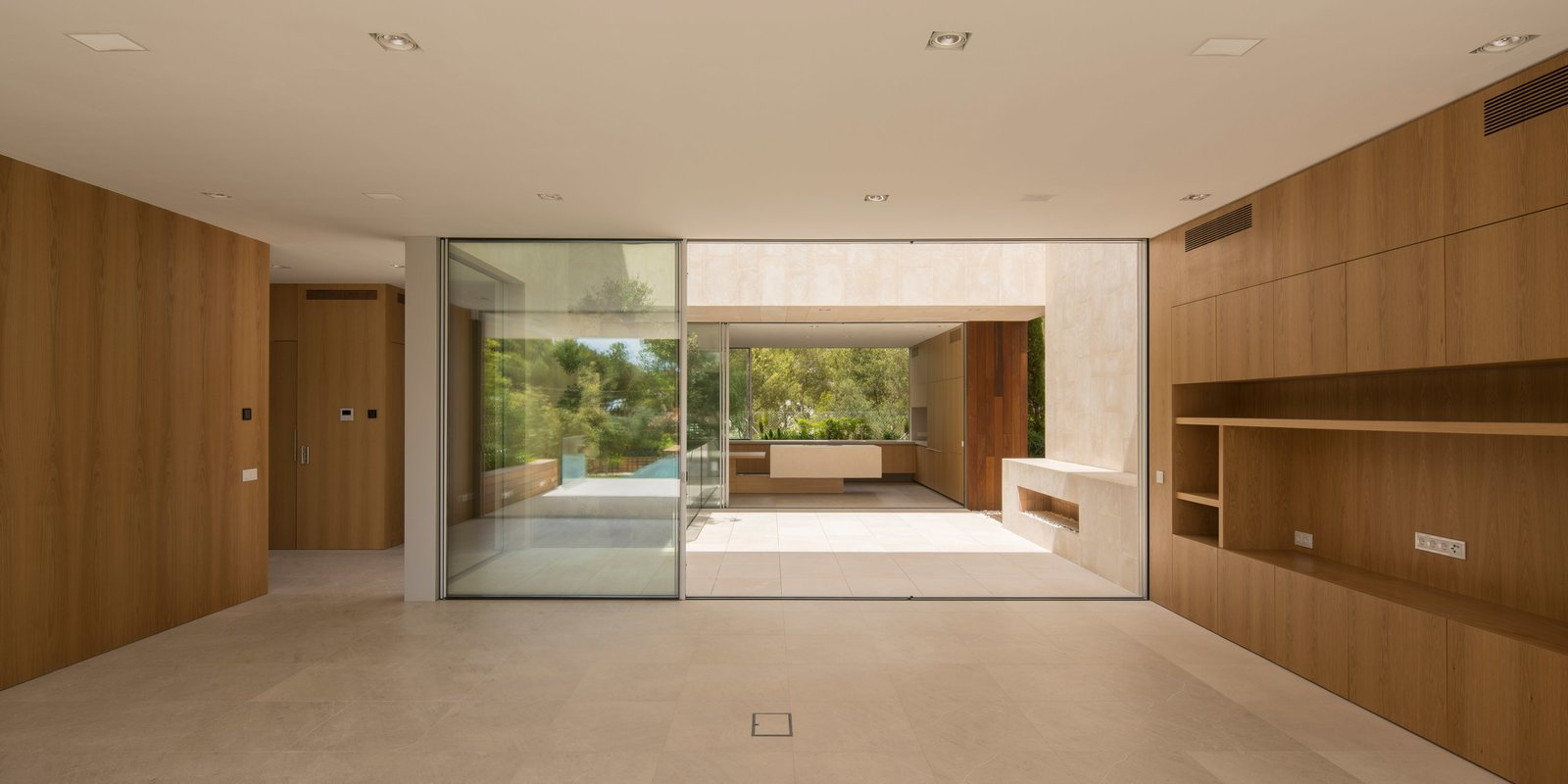 Living, Wood Burning, Limestone, and Ceiling  Best Living Ceiling Limestone Photos from M3 House