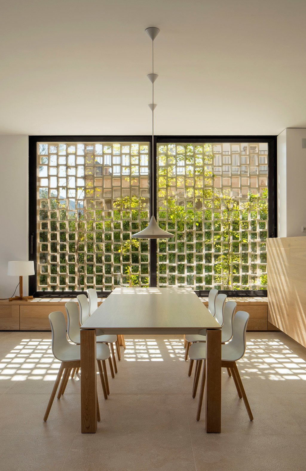 Dining, Ceiling, Limestone, Chair, Pendant, and Table  Best Dining Photos from M24 House