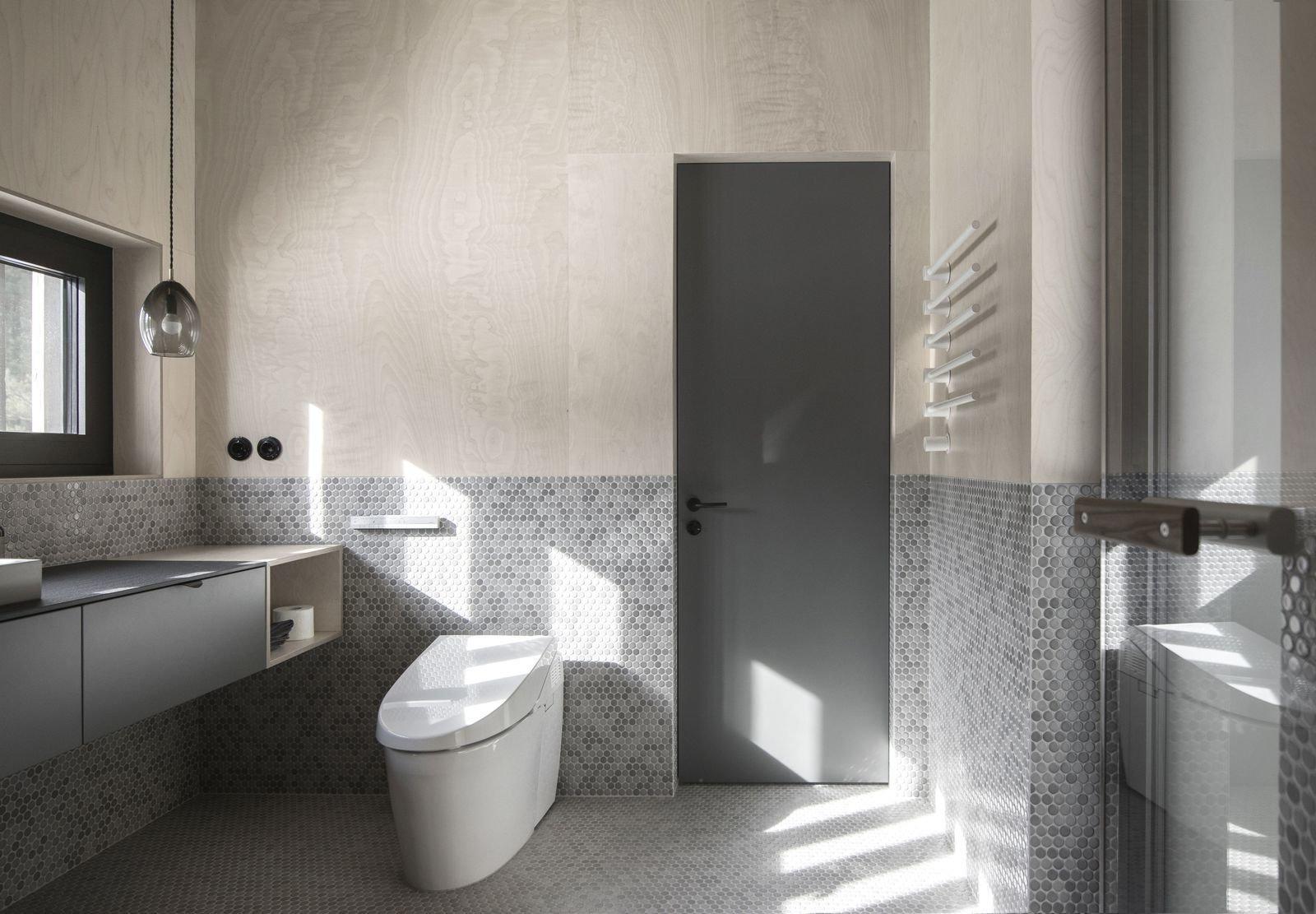 Bath, One Piece, Ceramic Tile, Mosaic Tile, Pendant, Vessel, Wood, and Quartzite  Best Bath Vessel Mosaic Tile Photos from House ILL
