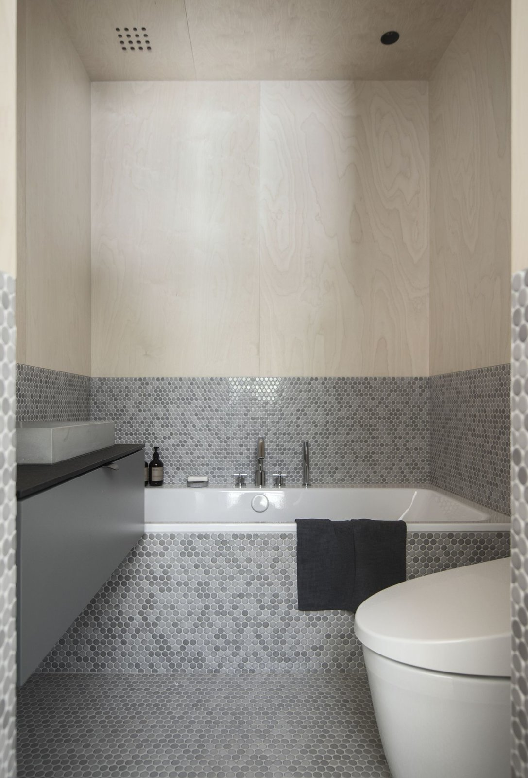 Bath, Quartzite, Ceramic Tile, Recessed, Vessel, Mosaic Tile, Drop In, and One Piece  Best Bath Drop In Vessel Photos from House ILL