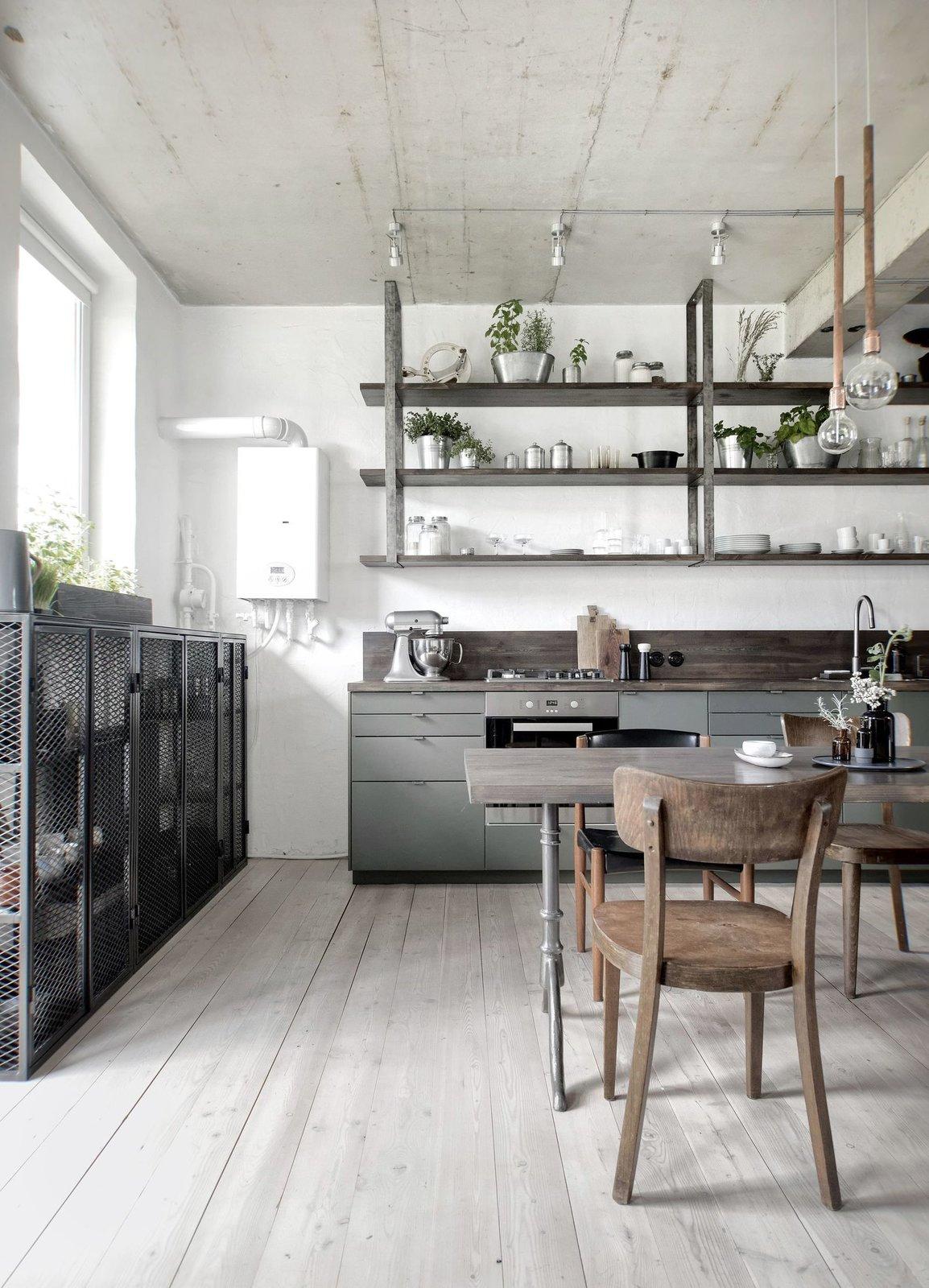 Kitchen, Wood, Wood, Ceiling, Range, Cooktops, Refrigerator, Light Hardwood, Drop In, and Colorful  Best Kitchen Light Hardwood Drop In Range Photos from Interior KAS