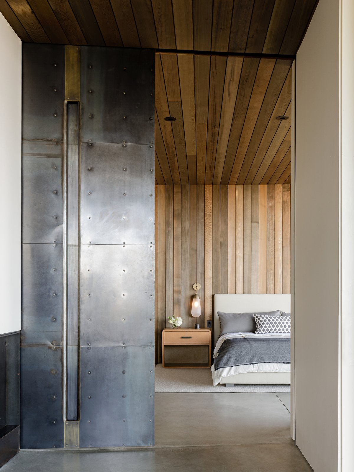 Bedroom, Bed, Concrete, Night Stands, and Wall  Best Bedroom Night Stands Wall Concrete Photos from Arch Cape