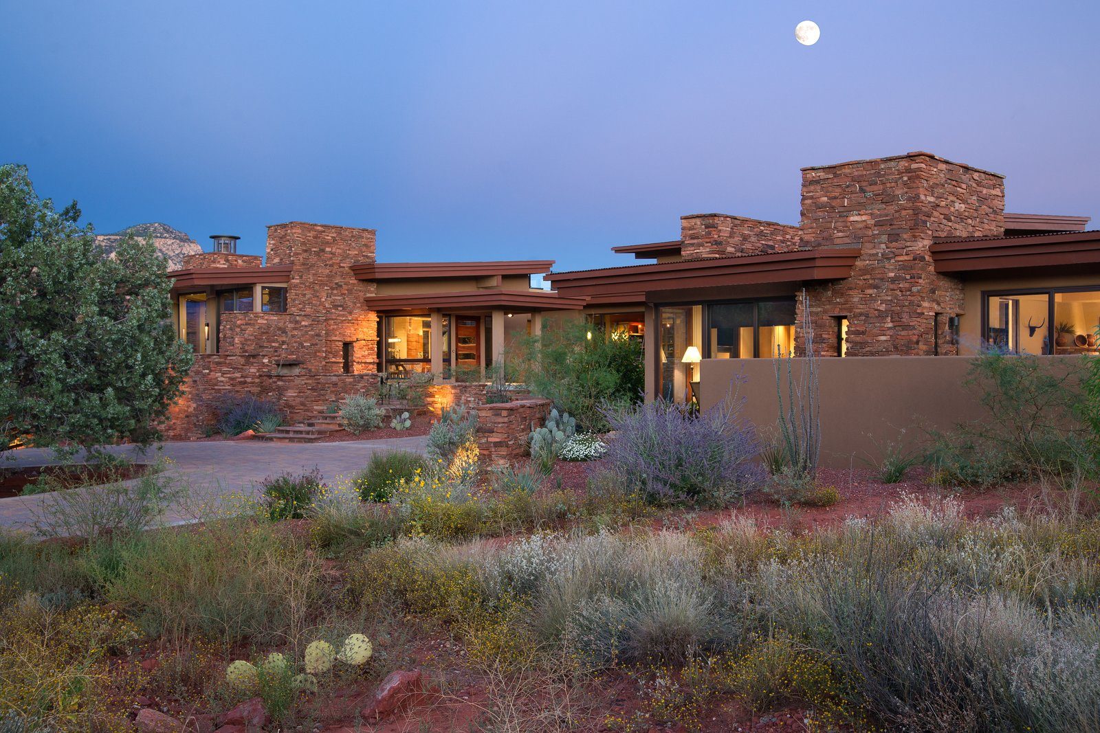 Exterior, Stone Siding Material, Stucco Siding Material, Flat RoofLine, House Building Type, and Green Roof Material  Sedona. Extraordinary. Serenity. Luxury. Green Living.
