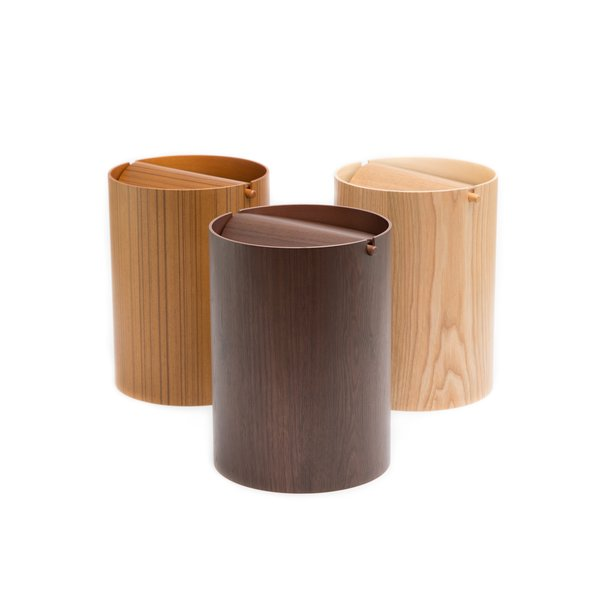 Saito Wood - Waste Basket with Lid - Small