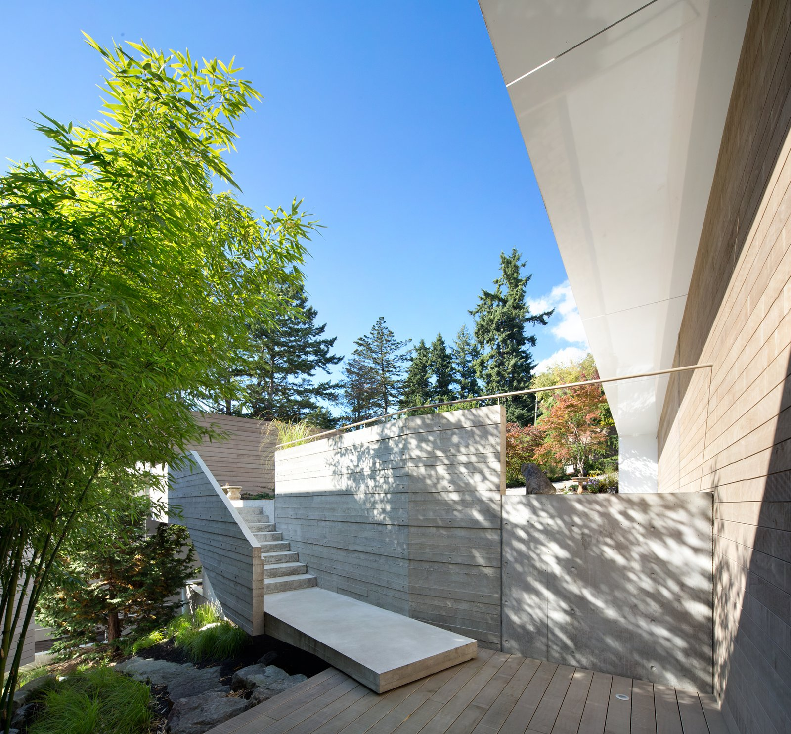 Outdoor, Small, Gardens, Front Yard, Wood, Trees, Walkways, Concrete, Concrete, Shrubs, Hardscapes, and Horizontal  Best Outdoor Wood Gardens Photos from Sunset House