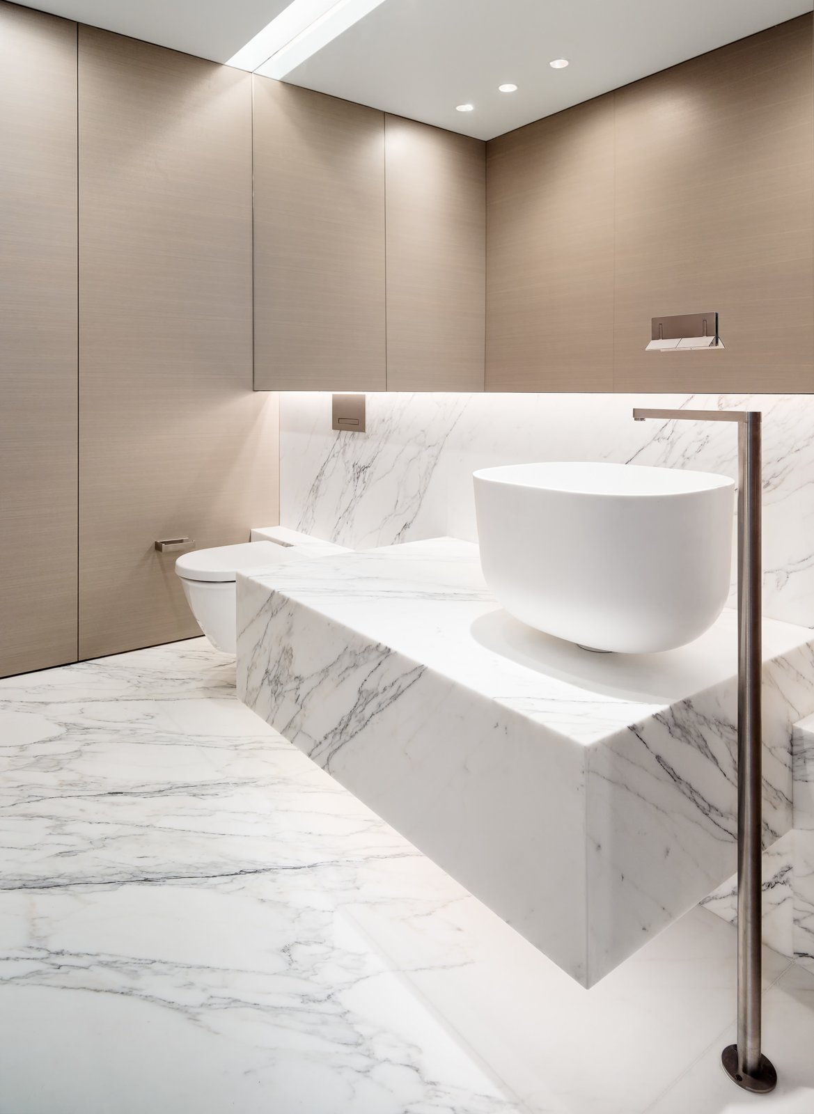 Bath, Pedestal, Vessel, Marble, and Marble  Best Bath Marble Marble Photos from Private Residence 4