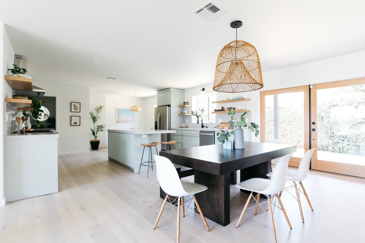 Dining Room, Table, Stools, Chair, Light Hardwood Floor, Pendant Lighting, and Bar  Olmsted By MINI INNO