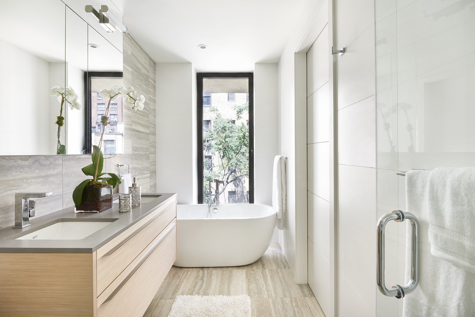 Bath Room, Freestanding Tub, Enclosed Shower, Marble Wall, and Marble Floor  Photos from La Maison, Duplex Penthouse