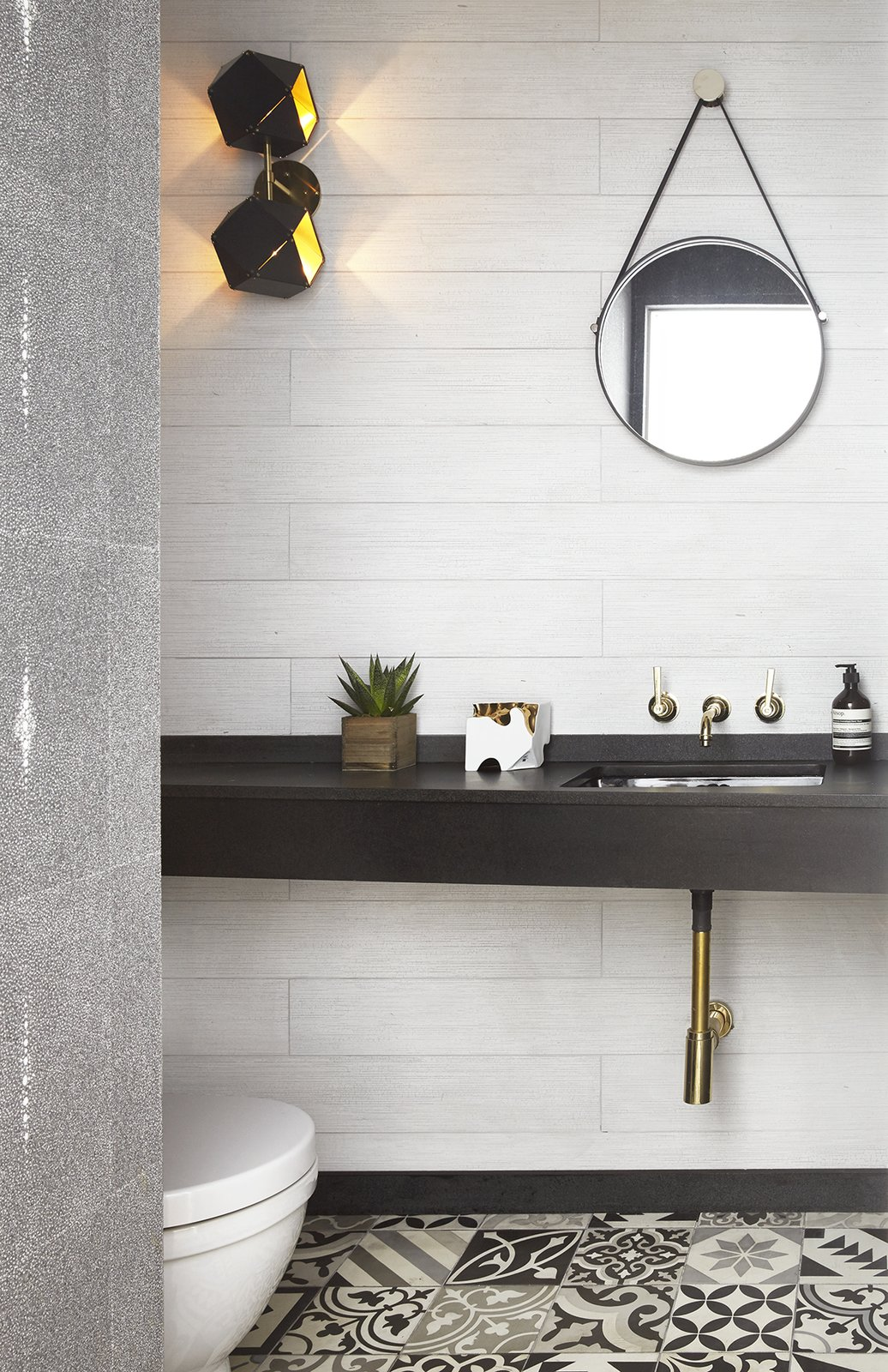 Bath, Ceramic Tile, Wall, One Piece, Drop In, and Stone  Best Bath Wall Ceramic Tile Photos from Renovated SoHo Duplex