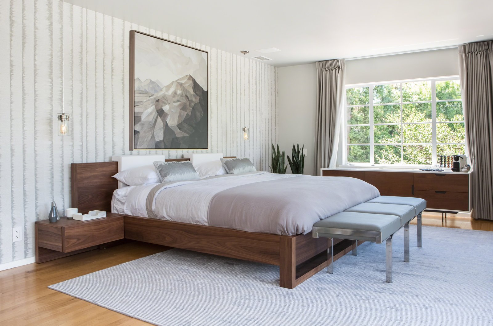 Bedroom, Medium Hardwood, Night Stands, Bench, Dresser, Pendant, Ceiling, and Bed  Best Bedroom Dresser Night Stands Photos from Lake Hollywood