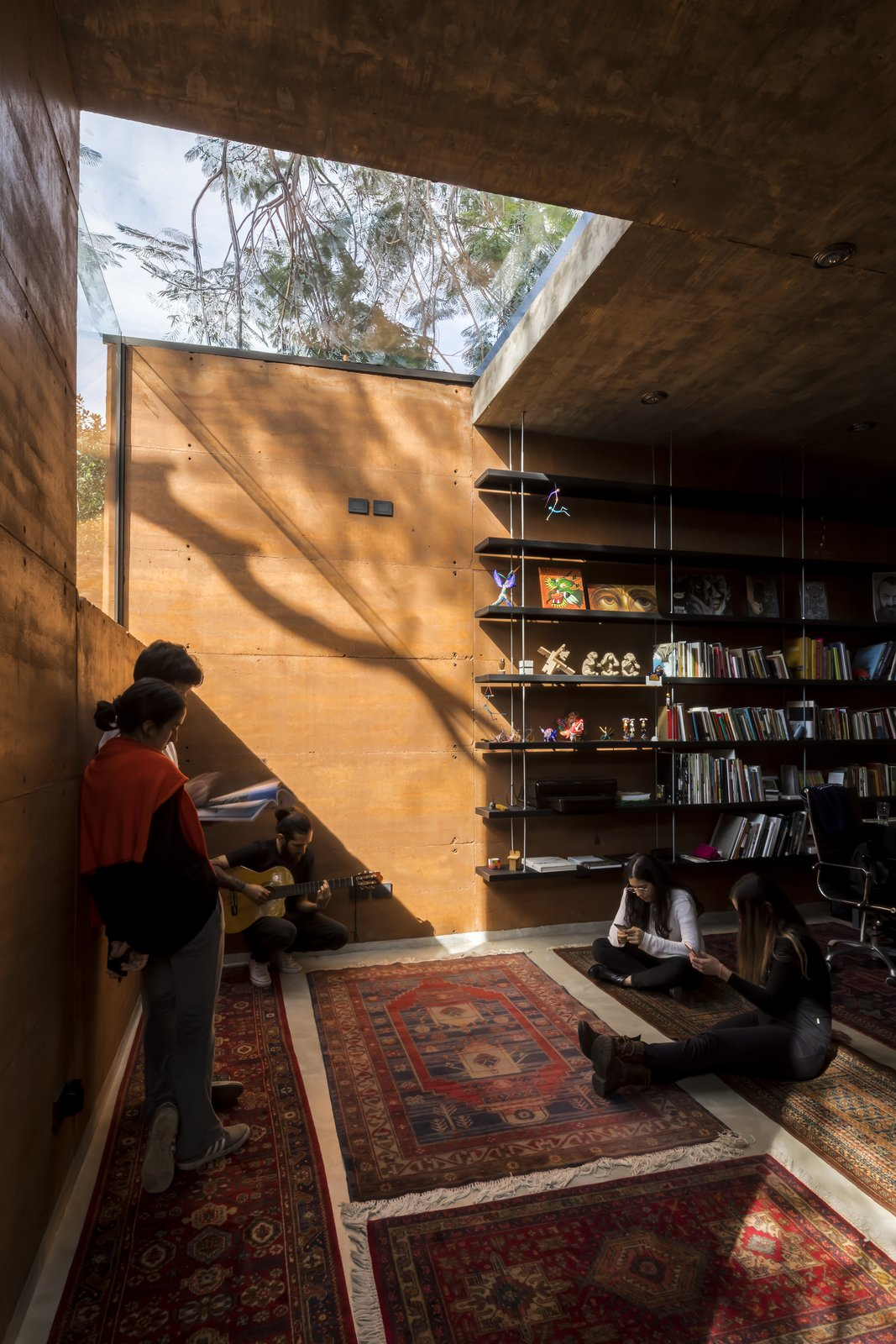 Office, Study, Bookcase, Library, Shelves, and Concrete  Best Office Library Shelves Photos from Earthbox