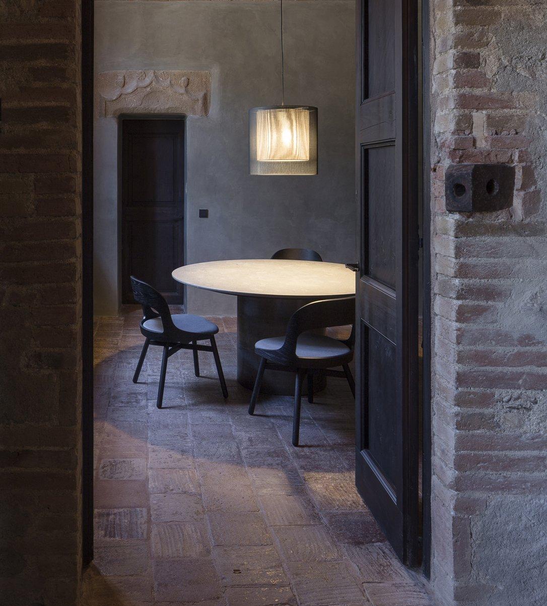 Dining Room, Pendant Lighting, Chair, Table, Lamps, and Ceramic Tile Floor  Sant Martí House by Francesc Rifé Studio